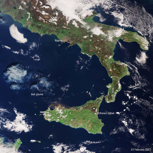 Copernicus Sentinel-3 view of Sicily and southern Italy