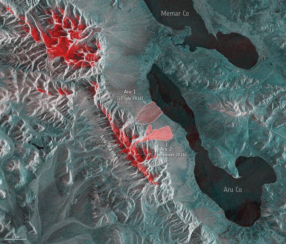 Glacier avalanches in Tibet's Aru mountain range