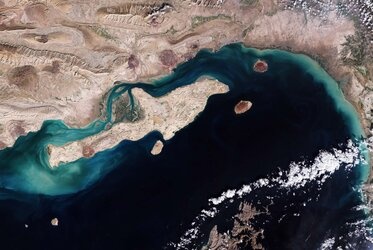 A Copernicus Sentinel-2 image over Qeshm Island – the largest island in Iran.