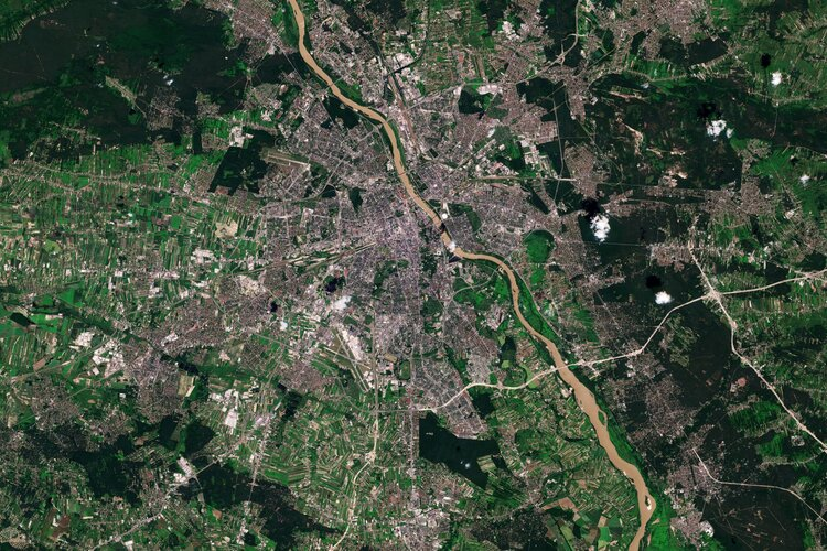 The Copernicus Sentinel-2 mission takes us over Warsaw – the capital and largest city of Poland.