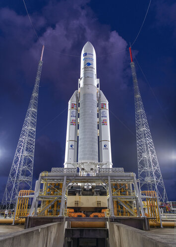 Ariane 5 is poised for liftoff on flight VA254 at Europe's Spaceport in French Guiana