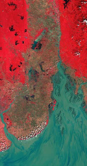 The Gulf of Martaban in southern Myanmar is featured in this false-colour image captured by Copernicus Sentinel-2.