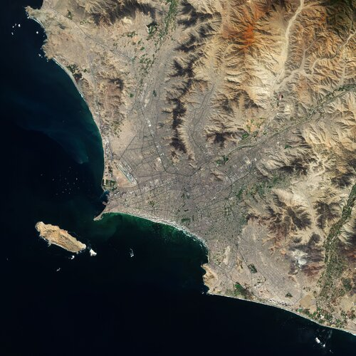 Lima, the capital and largest city of Peru, is featured in this Copernicus Sentinel-2 image.