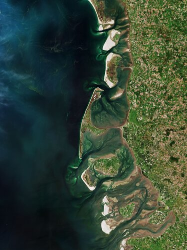 Part of the Frisian Islands, a low-lying archipelago just off the coast of northern Europe, is visible in this image captured by Copernicus Sentinel-2.