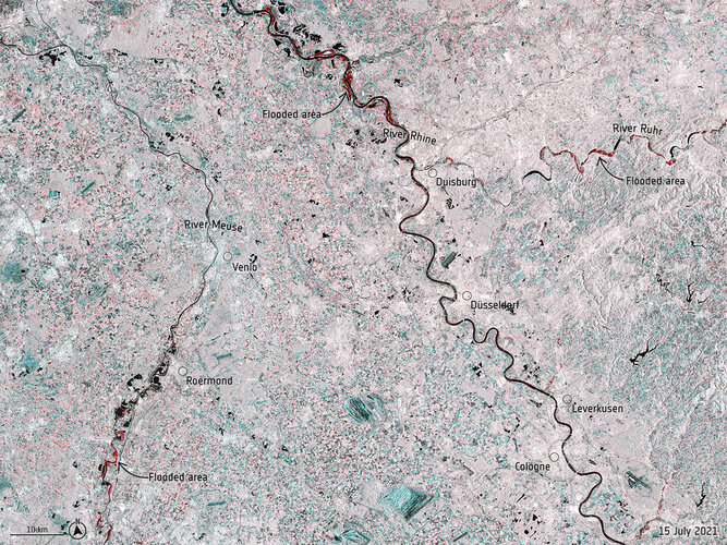 Satellites map floods in western Europe