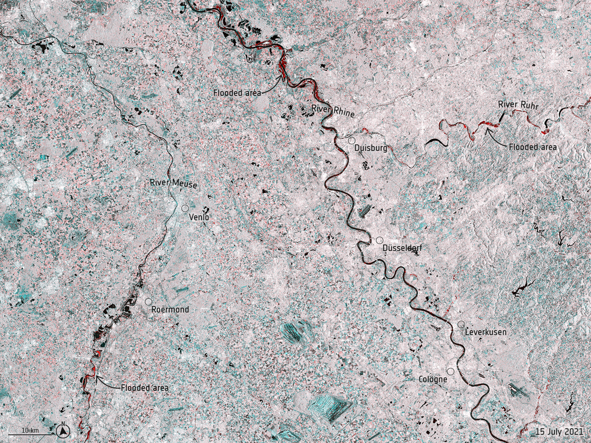 Record rainfall has caused swollen rivers to burst their banks and wash away homes and other buildings in western Europe. Data from the Copernicus Sentinel-1 mission are being used to map flooded areas to help relief efforts.