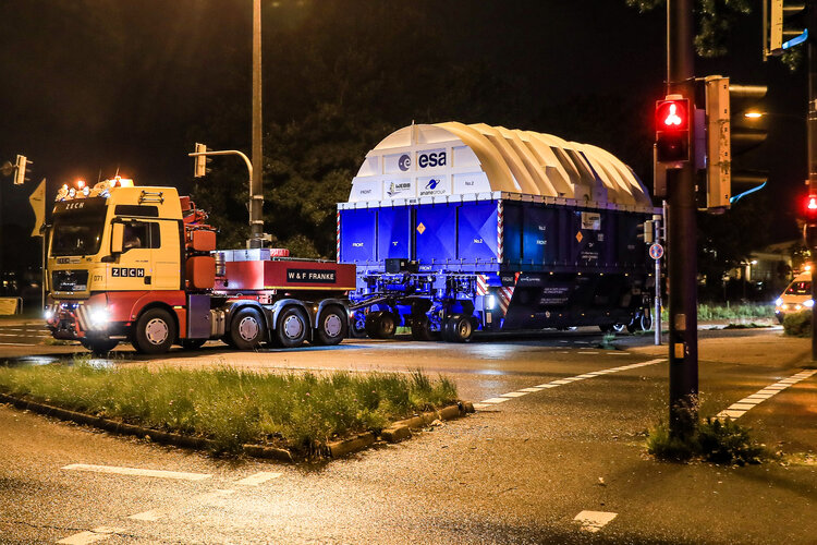 The upper stage of the Ariane 5 rocket which will launch the James Webb Space Telescope is on its way to Europe's Spaceport