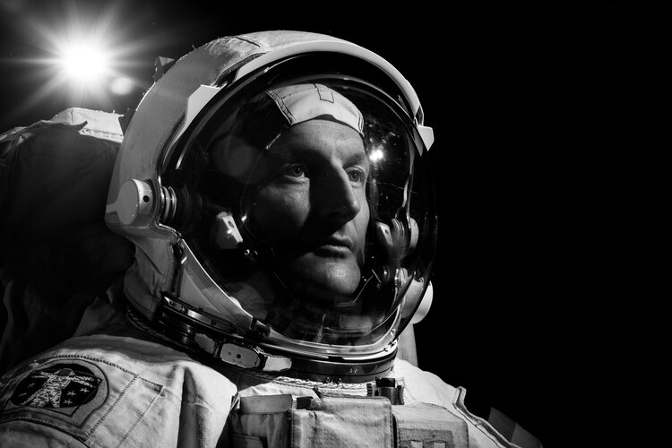 Matthias Maurer pictured in the American EMU spacesuit