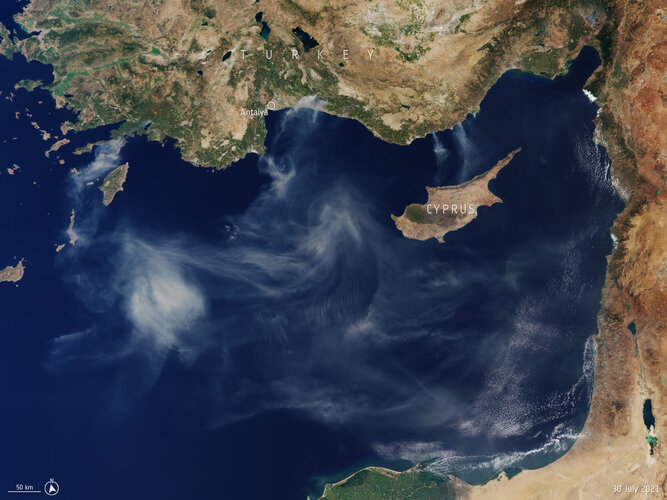 Captured by the Copernicus Sentinel-3 mission on 30 July 2021, this image shows smoke billowing from several fires along the southern coast of Turkey.