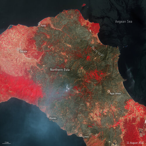 Parts of the Mediterranean and central Europe have experienced extreme temperatures this summer, with wildfires causing devastation on the Greek island of Evia. This Copernicus Sentinel-2 image shows the extent of the burned area in the northern part of the island.