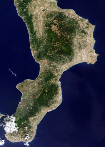 Calabria, often referred to as the 'boot' of Italy, is featured in this image captured by the Copernicus Sentinel-2 mission.