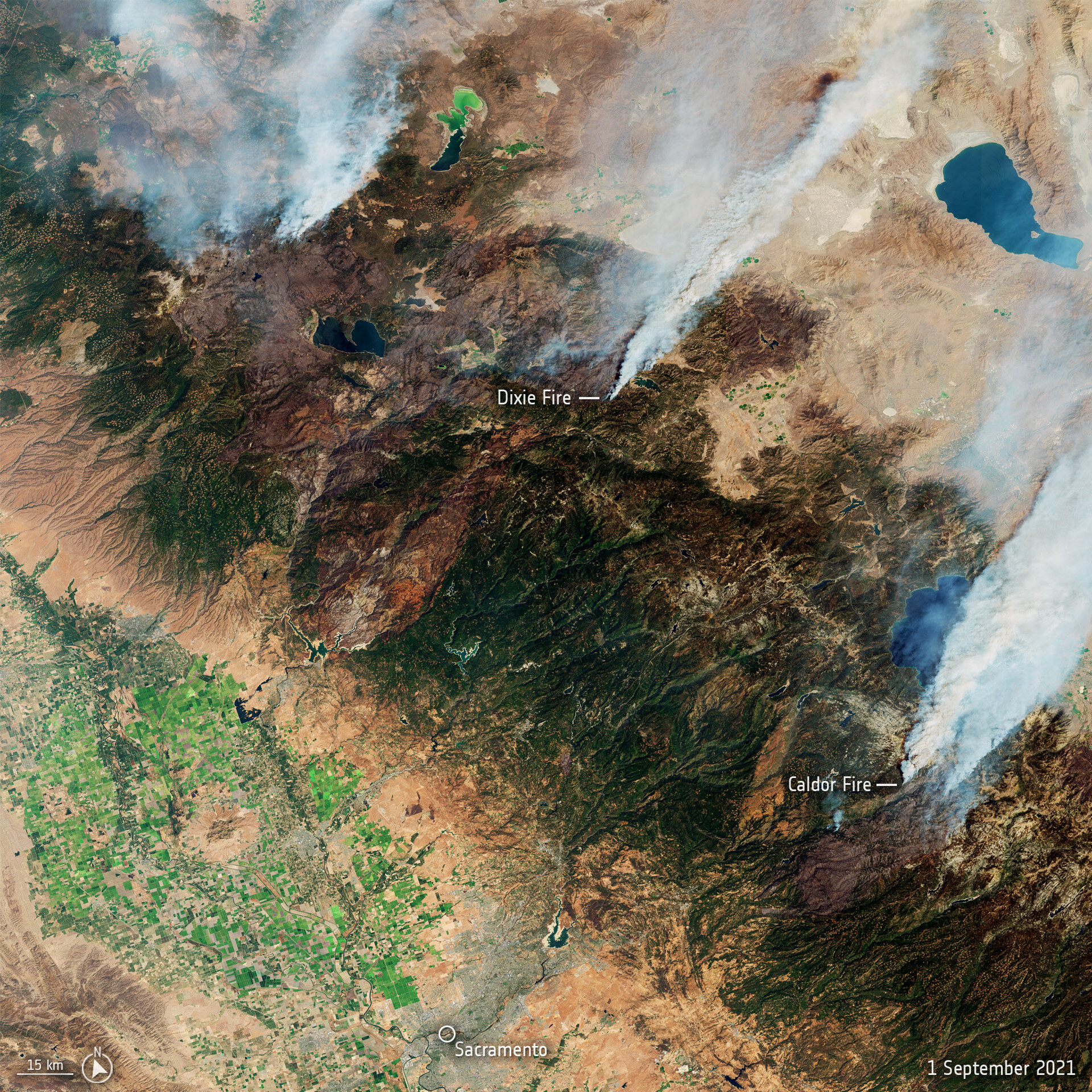 Immagine satellitare incendi USA estete 2021 Credits: ESA/NASA