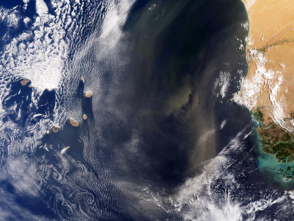 Desert dust blows from Africa