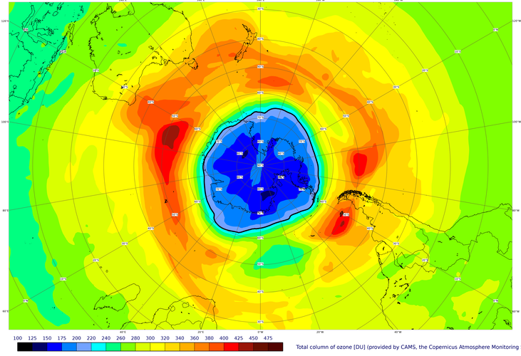 A map of the ozone hole over the South Pole on 16 September 2021