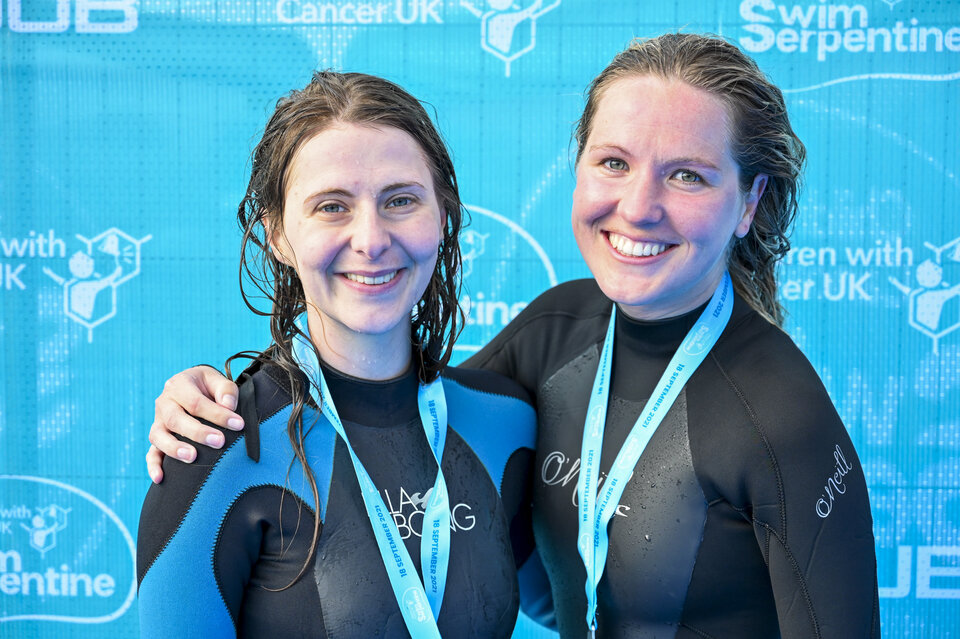 Swimmers received medals on completion of the course