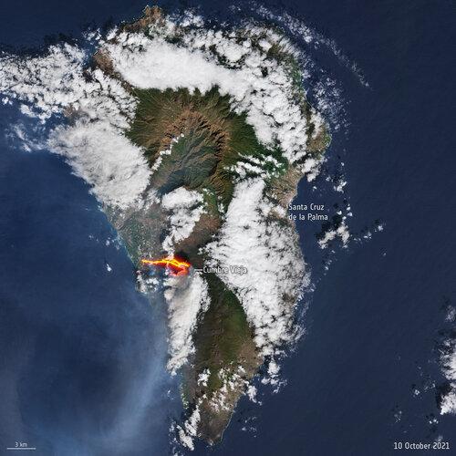 La Palma as captured by Copernicus Sentinel-2