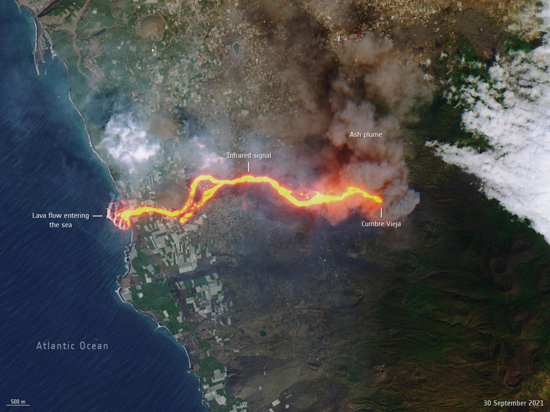 """Immagine del """"fiume di lava"""" ricavato da Sentinel 2 Credits: ESA"""