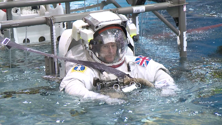 ESA astronaut Tim Peake during spacewalk training in Houston, USA.