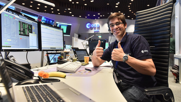 Software engineer in the Main Control Room at ESOC for the launch of Sentinel-2A on 23 June 2015