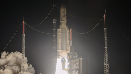 Watch the liftoff from Europe's Spaceport of the upgraded Ariane 5 on 15 August 2020 carrying two telecom satellites and a space tug to their planned transfer orbits.
