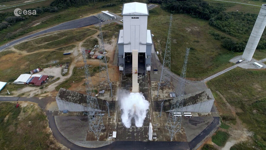 The water deluge system activated at liftoff was put to the test on the Ariane 6 launch pad at Europe's Spaceport