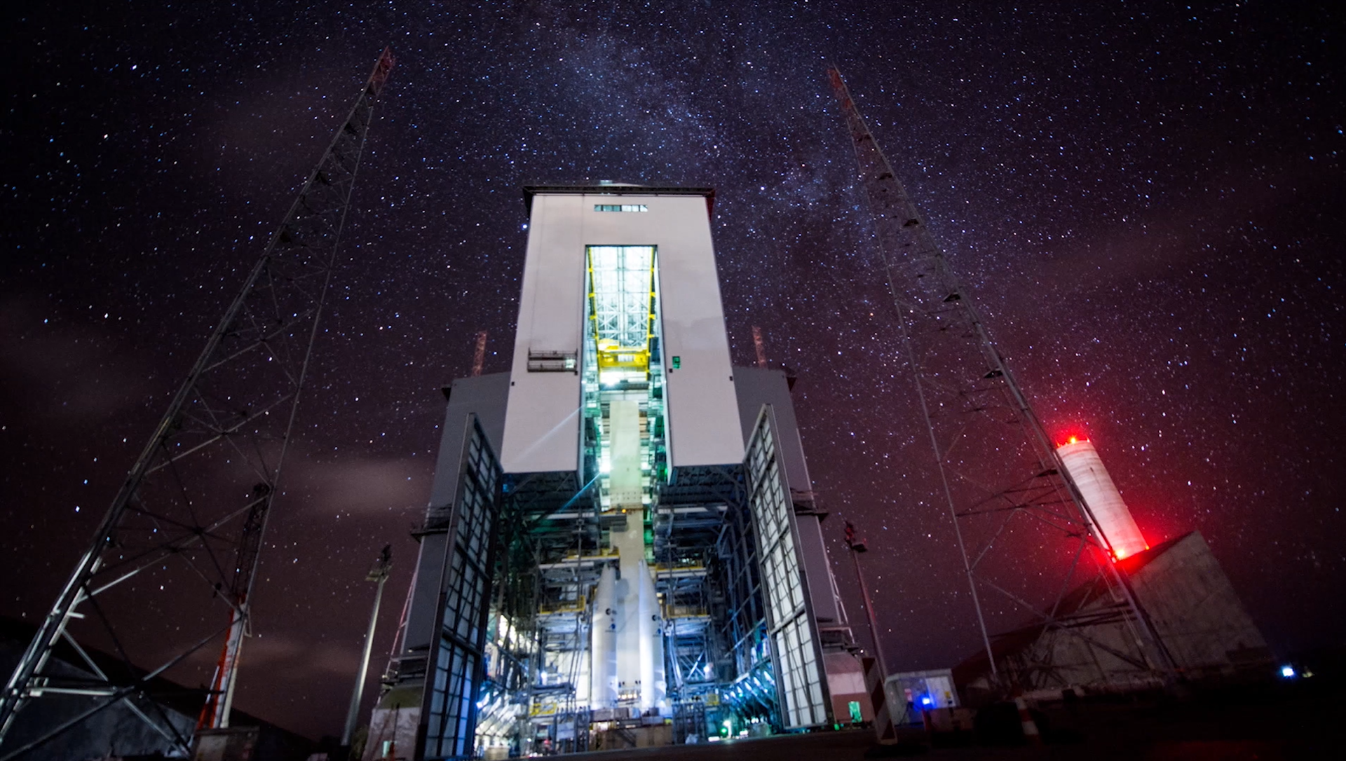 A timelapse under the stars on the Ariane 6 launch base at Europe's Spaceport