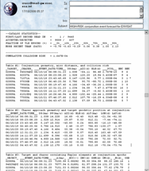 Avoiding impacts: ESA's daily conjunction bulletin